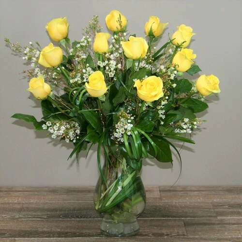 One Dozen Long Stemmed Premium Yellow Roses by Palace Florists, Rockville, MD